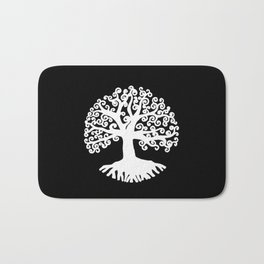black and white abstract tree of life II Bath Mat
