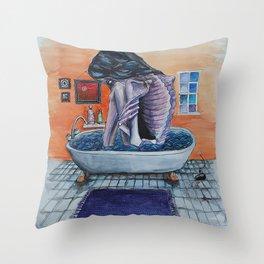 Bathtub Girl Throw Pillow