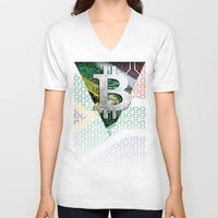 south africa V-neck T-shirts featuring bitcoin South Africa by seb mcnulty