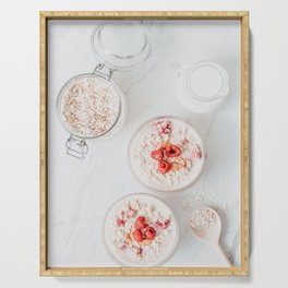 Raspberry Fruits Oats And Milk, Healthy Morning Breakfast, Food Photography Print, Flat Lay Print Serving Tray