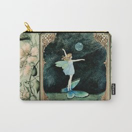 Bubble Romp ~ Altered Ida Rentoul Outhwaite Fairy in Vintage Frame  Carry-All Pouch