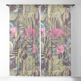 Fantasy in the nocturnal tropical jungle Sheer Curtain