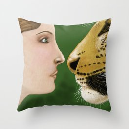 Lady and Leopard  Throw Pillow