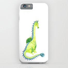 Lime Green Watercolor Dragon iPhone Case
