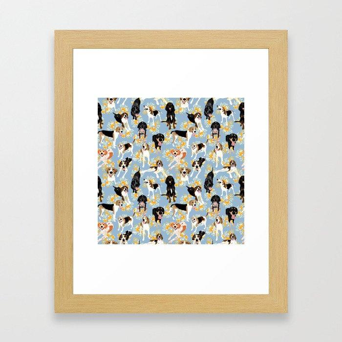 Coonhound Spring Pattern Framed Art Print