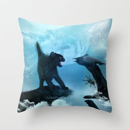 The cat and the crow in the night. Throw Pillow