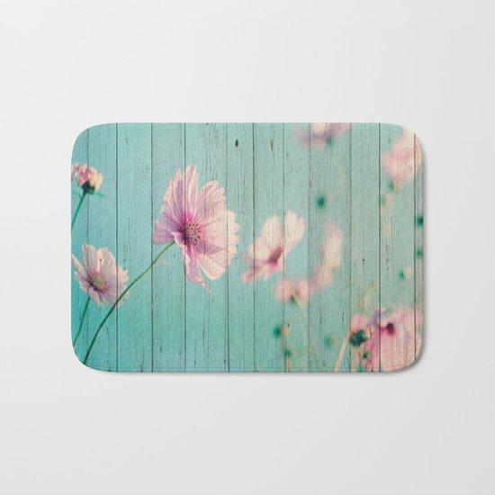 Sweet Flowers on Wood 07 Bath Mat