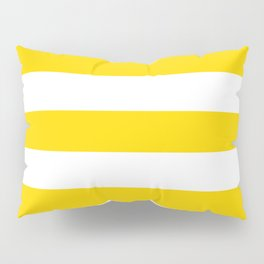 School bus yellow - solid color - white stripes pattern Pillow Sham