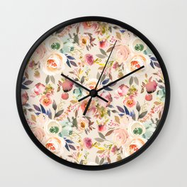 Hand painted ivory pink brown watercolor country floral Wall Clock
