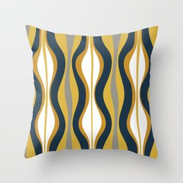 Hourglass Abstract Mid Century Modern Retro Pattern in Mustard Yellow, Navy Blue, Grey, and White Throw Pillow