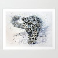 snow leopard Art Prints featuring snow leopard by KOSTART
