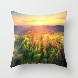 Sunset over forest Throw Pillow
