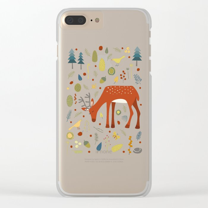 Deer and Forest Things Clear iPhone Case