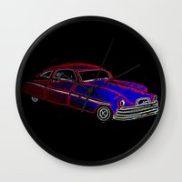 old school Wall Clocks featuring Old School by Adam Metzner