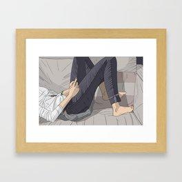 Girl On Couch Framed Art Print