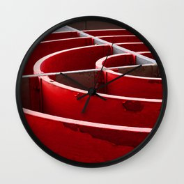 Curved in Red Wall Clock