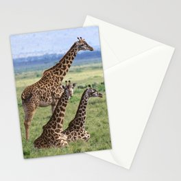 Majestic Giraffe Family Relaxing in Kenya, Africa Stationery Cards
