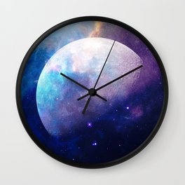 Galaxy Moon Space Wall Clock