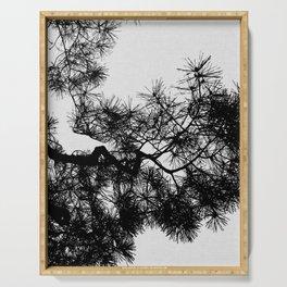 Pine Tree Black & White Serving Tray