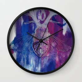 Colourful Silver Dotwork Antler Beetle Inksplash Illustration Wall Clock