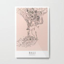 Bali - Indonesia Mind City Map F4D8CD Metal Print