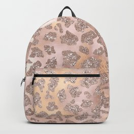 Rosegold Blush Leopard Glitter   Backpack
