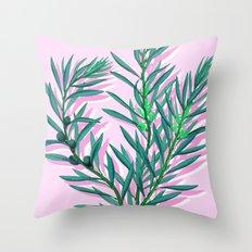 Olive branches in pink and green Throw Pillow