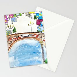 The Neighborhood. Original Artwork Painting Sketch. Bridge and Cityscape. Abstract City. Stationery Cards