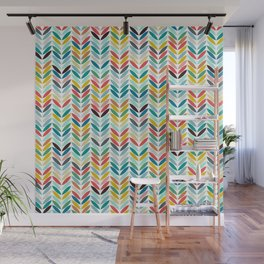 llama leaf arrow chevron white Wall Mural