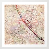 vienna Art Prints featuring Vienna by MapMapMaps.Watercolors