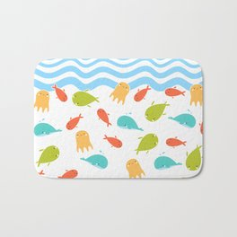 Cute Sea Life, Colorful Fishes and Waves Design Pattern, Cute Kids Art Bath Mat