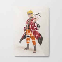 Typography Art of Naruto Uzumaki Metal Print