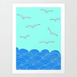 Ocean Air Drawing Print by Emma Freeman Designs Art Print