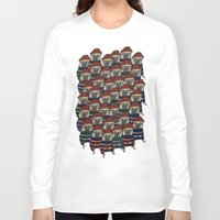pugs Long Sleeve T-shirts featuring Hipster Pugs by Adam Lindfors