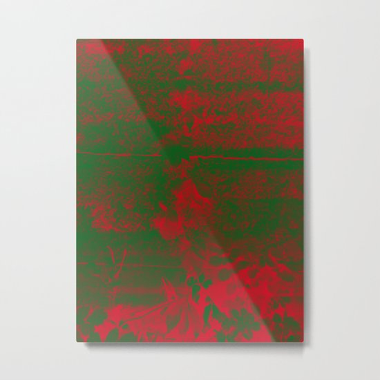 Leaves in fire red green fantasy Metal Print