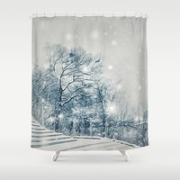 outdoor Shower Curtains featuring Outdoor Theater by Artist pIL