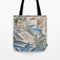 pablo picasso Tote Bags featuring Juan Gris Portrait of Pablo Picasso by Artlala for MSF Doctors Without Borders