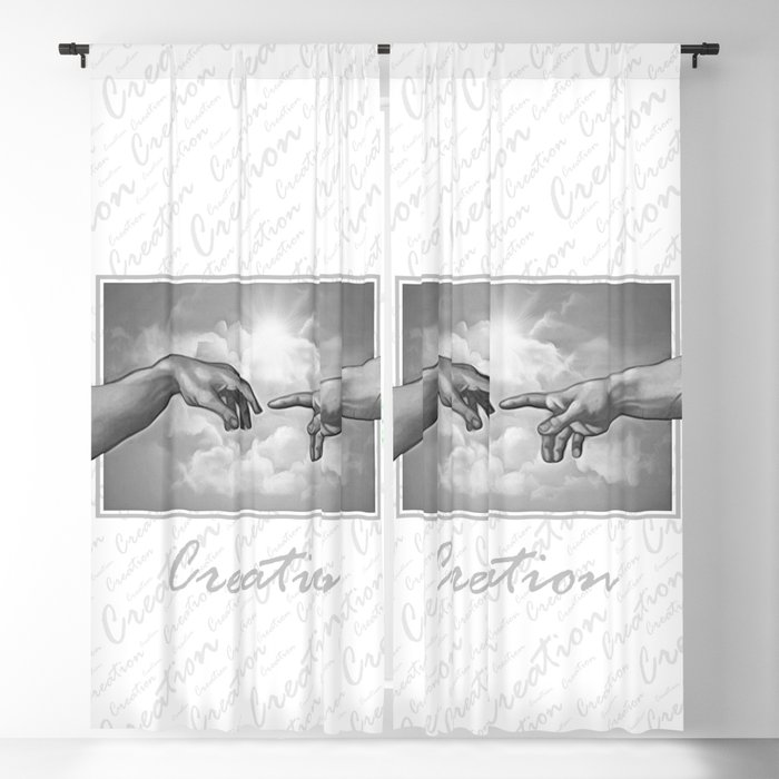 Creation - in Black & White Blackout Curtain