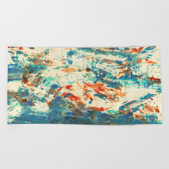 Running in the Rain Beach Towel
