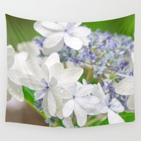 hydrangea Wall Tapestries featuring Hydrangea by yumehana design fine art photography