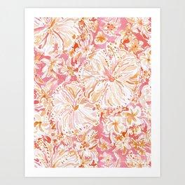 ALOHA STATE Peach Tropical Watercolor Floral Art Print