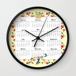 2015 Calendar, Bluebirds and Geraniums Wall Clock