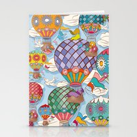 hot air balloon Stationery Cards featuring Hot Air Balloon by Helene Michau