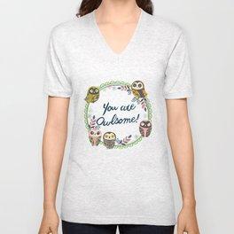 Owl-Green (You Are Owlsome) Unisex V-Neck