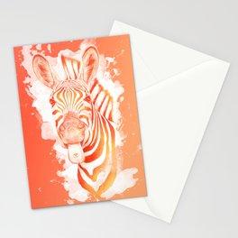 Love and Stripes - zebra orange Stationery Cards