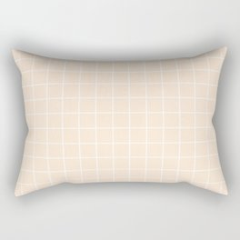 Flesh - pink color - White Lines Grid Pattern Rectangular Pillow