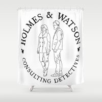 emma watson Shower Curtains featuring holmes and watson stamp by Emma Harckham