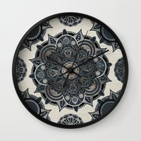 islam Wall Clocks featuring Silver Mandala by Mantra Mandala