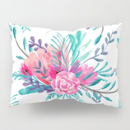 Modern hand painted pink turquoise floral watercolor pattern Pillow Sham