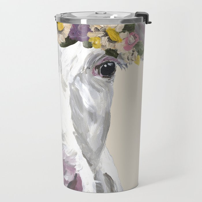 Cow With Flower Crown, Cute Cow Up Close Travel Mug